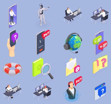 Customer service isometric isolated icon set with operators online support chat bot vector illustration Иллюстрация