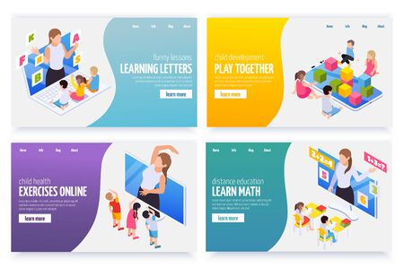 Learning math letters gym exercises remotely online kindergarten games 4 distant education isometric web banners vector illustration