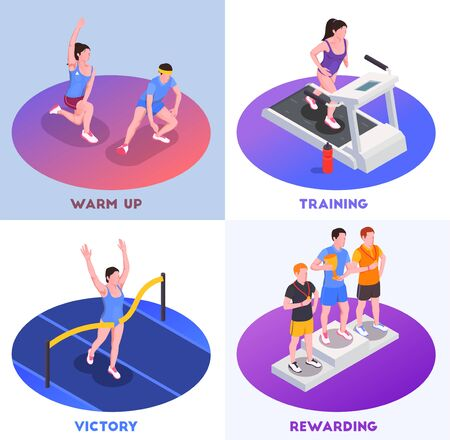 Running people concept icons set with victory and training symbols  isometric isolated vector illustration
