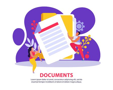 Employment service and employment documents flat background with images of paper sheet with doodle style people vector illustration