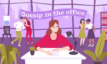 Work gossip flat composition with office scenery and cartoon characters of coworkers talking with each other vector illustration