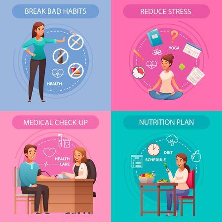 Healthy lifestyle concept 4 cartoon compositions with bad habits breaking stress reducing medical checkup nutrition vector illustration Ilustración de vector