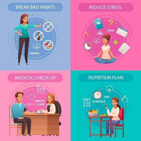 Healthy lifestyle concept 4 cartoon compositions with bad habits breaking stress reducing medical checkup nutrition vector illustration