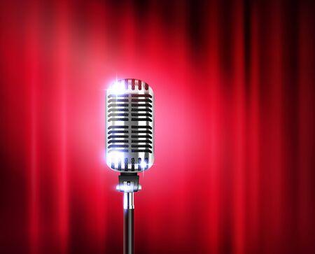 Micrófono de pie muestra una composición realista con un micrófono brillante contra una ilustración de vector de cortina de teatro rojo