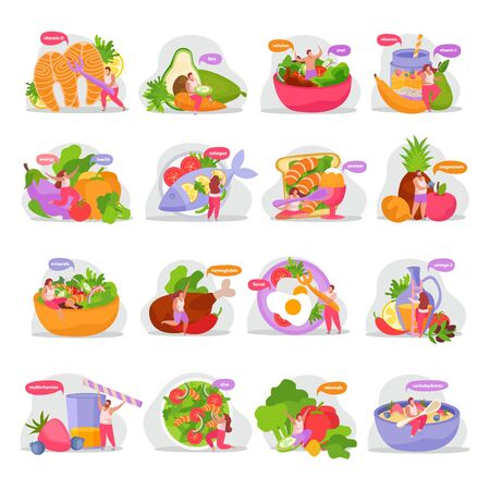 Healthy and super food flat icons set with isolated images of organic products dishes and people vector illustration Vektorové ilustrace