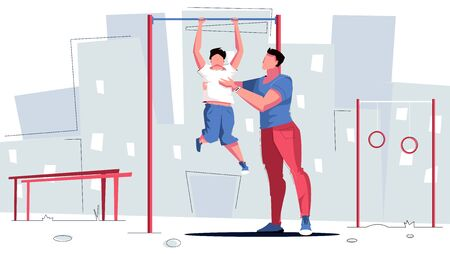 Sport dad horizontal bar flat composition with sports ground scenery cityscape background and family human characters vector illustration