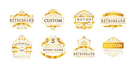 Retro vintage design label luxury logos set of eight isolated logotypes with editable text and frames vector illustration Ilustracja