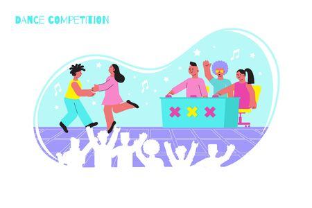 Dance competition flat composition with dancing pair jury and auditorium vector illustration 向量圖像