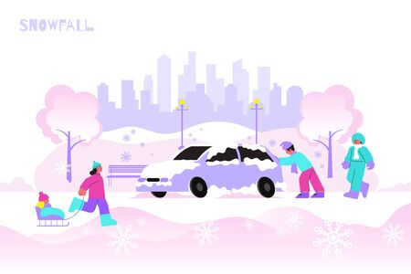 Snowfall in city and walking people flat vector illustration