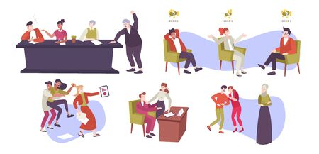 Work conflict flat set of isolated icons and doodle style human characters of coworkers in argue vector illustration