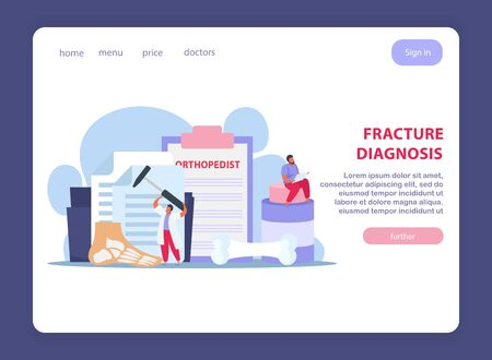 Orthopedics clinic page design with fracture treatment symbols flat vector illustration