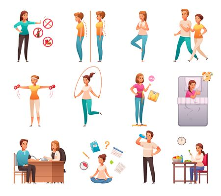 Healthy lifestyle habits cartoon icons set with avoiding junk food alcohol maintaining weight posture sleep vector illustration