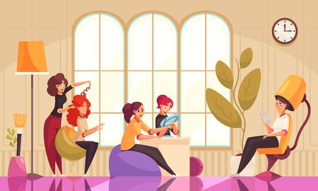 Makeup beautician stylist composition with beauty salon interior indoor scenery and female clients during cosmetic procedures vector illustration