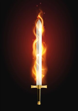 Legendary sword glowing with flame fire breathing weapon mythology supernatural power against dark background realistic vector illustration