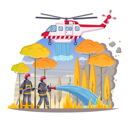 Firefighters cartoon composition with outdoor landscape and burning forest with firemen and helicopter putting blaze out vector illustration