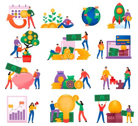 Flat crowdfunding icon set with donating money and becoming a sponsor of new business vector illustration