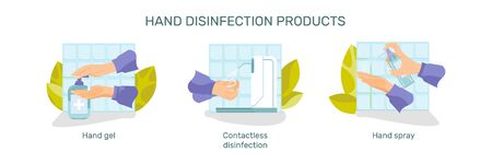 Hand hygiene set of flat compositions with human hand images with gels sprays and text captions vector illustration