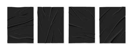 Badly glued wrinkled crumpled 4 black paper foil sheets templates set white background isolated realistic vector illustration