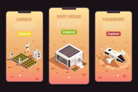 Isometric set of space colonization templates with astronaut safe house garden and drone for exploration 3d isolated vector illustration 向量圖像
