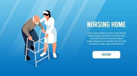 Isometric nursing home horizontal banner with more button text and characters of old man and assistant vector illustration