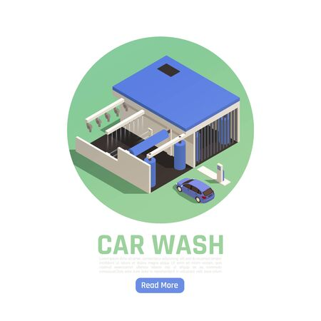 Automatic drive though car wash facility exterior isometric view circular blue green composition web page vector illustration