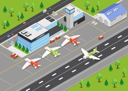 Draufsicht des isometrischen Hintergrunds des Flughafens mit Terminalgebäudeflugzeugen auf Flugplatz- und Landebahnvektorillustration