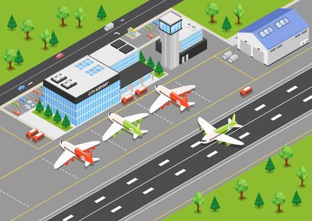 Top view of airport isometric background with terminal building airplanes on airfield and runways vector illustration