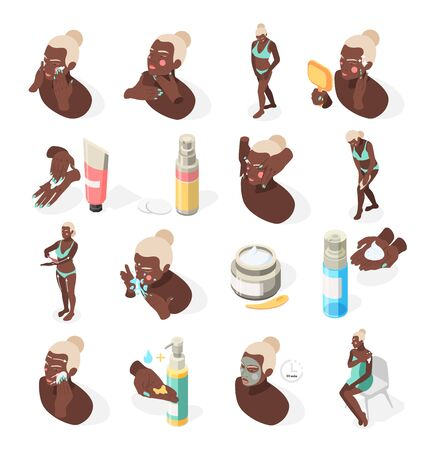 Face and body skin care isometric recolor set with applying mask moisturizer collagen nourishing cream vector illustration