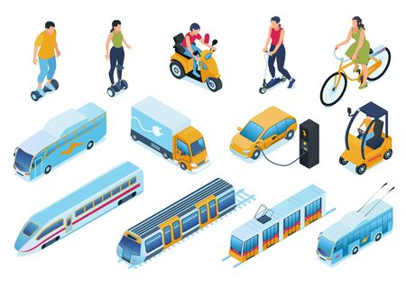 Electric transport isometric set with car and bike symbols isolated vector illustration