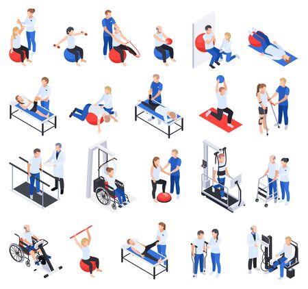 Icônes isométriques de la clinique de réadaptation en physiothérapie sertie de personnes blessées et handicapées massage traitement exercices équipement illustration vectorielle Vecteurs