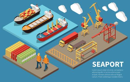 Cargo seaport container ships loading unloading cranes bulk carrier freight trucks deck workers 3 isometric compositions vector illustration