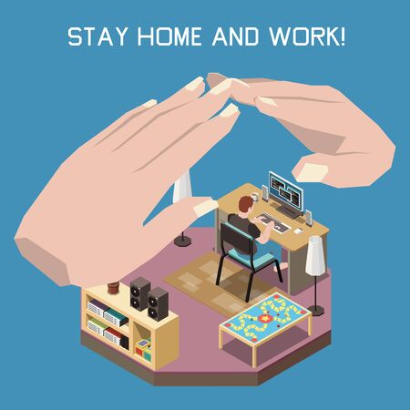 Stay at home and work concept with remote online work symbols isometric vector illustration