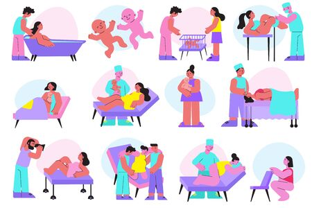 Flat icons set with women before and after childbirth isolated on white background vector illustration