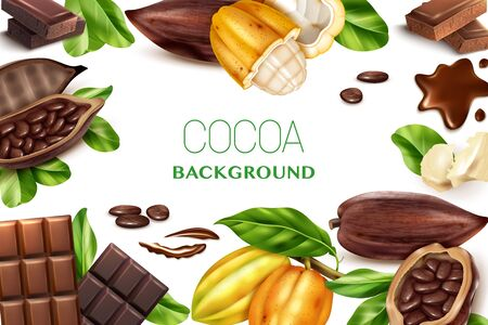 Cocoa white background with realistic frame of  fruits of chocolate tree and pieces of sweet treats vector illustration 矢量图像