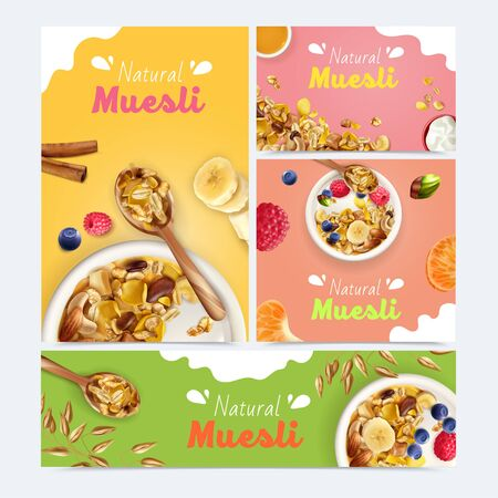 Realistic muesli set with banners of different size and orientation with food images and ornate text vector illustration