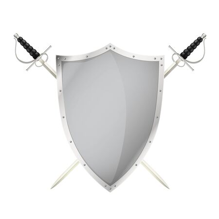 Two crossed swords behing blank shield steel metal personal armor realistic isolated image vector illustration Foto de archivo - 148854174