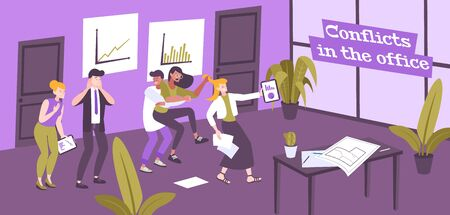 Work conflict flat composition of text and office indoor scenery with human characters of conflicting people vector illustration
