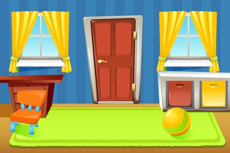 Cartoon doors composition with indoor house scenery with colourful pieces of furniture wall with windows curtains vector illustration