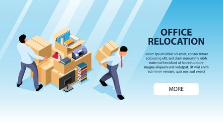 Isometric office move horizontal banner with editable text more button and images of people moving boxes vector illustration