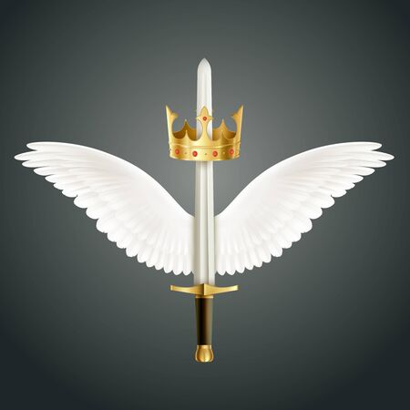 Sword accompanied by wings and crown realistic design symbolizing guardian angel protection  against dark background vector illustration Foto de archivo - 149238716