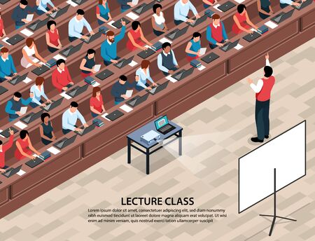 Isometric professor lecture class background with characters of students and lecturer in front of projection screen vector illustration