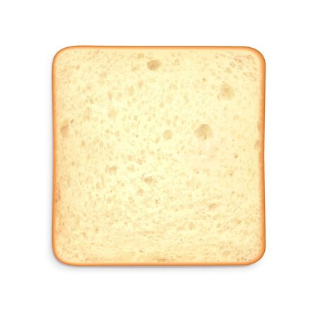 Toast sliced bread realistic composition with top view of square piece of bread on blank background vector illustration