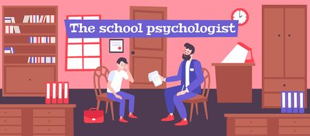Psychologist help school flat composition with human characters of therapist and pupil having conversation in office vector illustration
