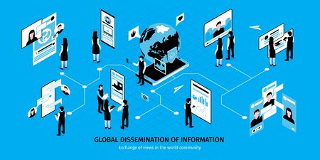 Isometric social media horizontal concept with global dissemination of information exchange of views in the world community descriptions vector illustration