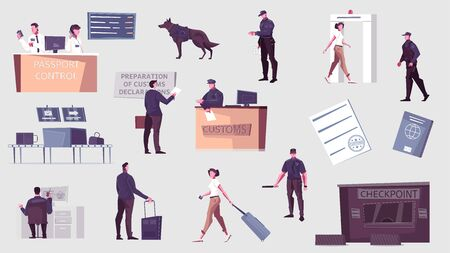 Customs control set with flat icons and isolated human characters of border guards officers and passengers vector illustration