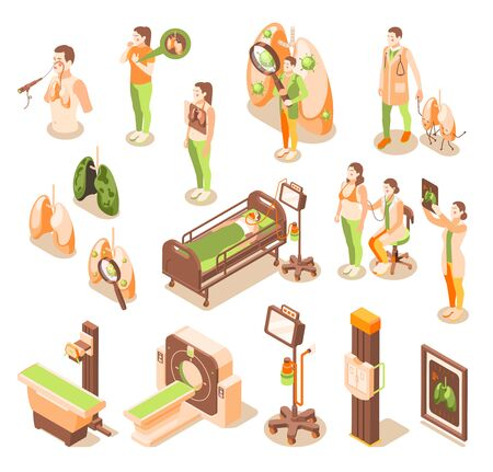 Lung inspection recolor icons set with illness treatment symbols isometric isolated vector illustration