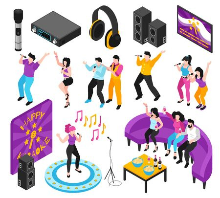 Karaoke party interactive entertainment isometric set with people singing along recorded music  loudspeakers video screen vector illustration  Ilustração