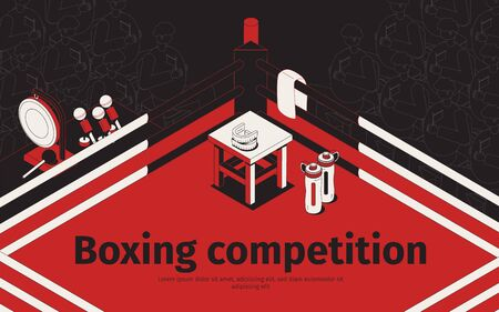Boxing competition isometric background with view of prize-ring with silhouettes of audience and editable text vector illustration