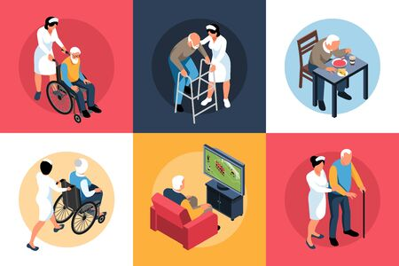 Isometric nursing home design concept 3x2 set of square compositions with elderly people and specialists assistance vector illustration