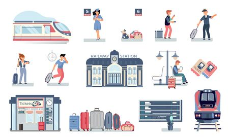 Railway station set with flat icons of trains and people on platforms with tickets and baggage vector illustration